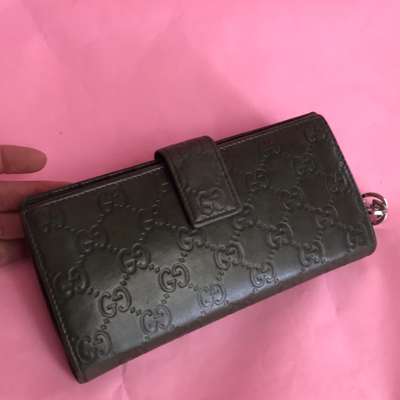 Gucci Handbags - Dark olive Gucci leather large wallet